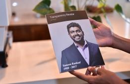 Transparency Maldives' book on slain blogger Yameen Rasheed. FILE PHOTO: HUSSAIN WAHEED / MIHAARU