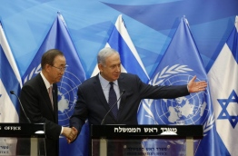Ban is on an official visit to Israel and the Palestinian territories. / AFP PHOTO / POOL / RONEN ZVULUN