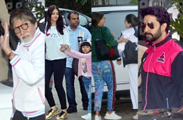 Composite image of the Bachchan family spotted on the way to Kaling airport.
