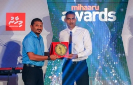 """Paradise Island Resort, May 5, 2018: Ahmed """"Longey"""" Abdul Kareem (R) won second place in Men's Volleyball. PHOTO/IMAGES.MV"""