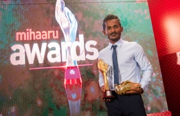 """Paradise Island Resort, May 5, 2018: Footballer Ali """"Sentey"""" Fasir received the """"Golden Boot"""", which is awarded to the top scorer of the season. PHOTO/IMAGES.MV"""