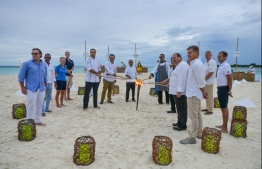 Baa Atoll Festival Press Conference held on a deserted remote Baa Atoll Sandbank