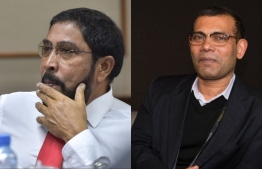 R to L: Former president Mohamed Nasheed and Jumhoory Party leader Qasim Ibrahim