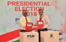 Maldives National University (MNU) signs with Public Service Media (PSM) for the media coverage of the presidential debate ahead of the upcoming elections 2018. - PHOTO: MIHAARU