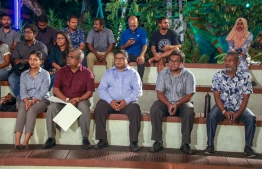 Environmental Protection Agency's Director General Ibrahim Naeem (5R), Minister of Environment Dr Hussain Rasheed Hassan (C), Minister of State for Environment Dr Abdulla Naseer (2L). PHOTO: MINISTRY OF ENVIRONMENT