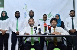 A press conference held by Adhaalath Party. PHOTO: MIHAARU
