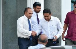 President Abdulla Yameen Abdul Gayoom and member of his legal team, former Vice President Mohamed Jameel Ahmed. PHOTO: HUSSAIN WAHEED/ MIHAARU