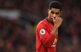 Manchester United's English striker Marcus Rashford reacts during the English Premier League football match between Manchester United and Norwich City at Old Trafford in Manchester, north west England, on January 11, 2020. PHOTO: OLI SCARFF / AFP