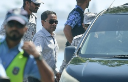 Former president Abdulla Yameen escorted to the High Court for his appeal hearing. PHOTO: NISHAN ALI / MIHAARU