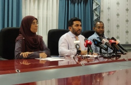 Minister of Health Abdulla Ameen (C) speaks to the press about the first suspected case of the Novel Coronavirus in Maldives, on January 30, 2020. PHOTO/MIHAARU
