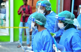 During the joint drill held on a possible COVID-19 outbreak in Male' City. FILE PHOTO: AHMED AWSHAN ILYAS / MIHAARU