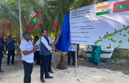 Indian High Commissioner to Maldives Sunjay Sudhir inaugurates the MVR 13.3 million coastal protection project at AA.Rasdhoo on March 7, 2020. PHOTO/FOREIGN MINISTRY