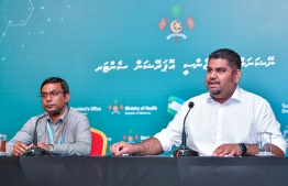 Mabrook Abdul Azeez (R), the undersecretary at the President's Office and spokesperson on COVID-19 updates, speak to the press on the situation in Maldives. PHOTO: AHMED ASHWAN ILYAS / MIHAARU