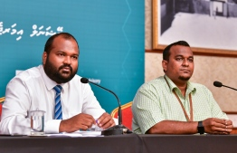 Tourism Minister Ali Waheed (L) speaks to the press on the COVID-19 situation in Maldives. PHOTO: AHMED AWSHAN ILYAS / MIHAARU